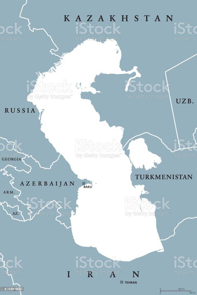 World Map Caspian Sea.Caspian Sea Region Political Map Stock Vector Art More Images Of