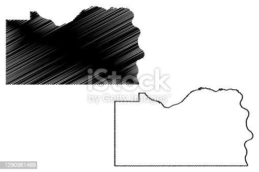 istock Cass County, Nebraska (U.S. county, United States of America, USA, U.S., US) map vector illustration, scribble sketch Cass map 1290981469