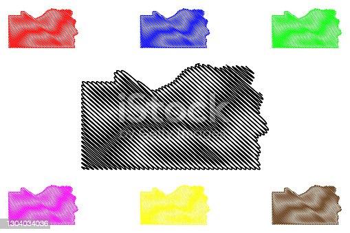 istock Cass County, Nebraska (U.S. county, United States of America, USA, U.S., US) map vector illustration, scribble sketch Cass map 1304034036