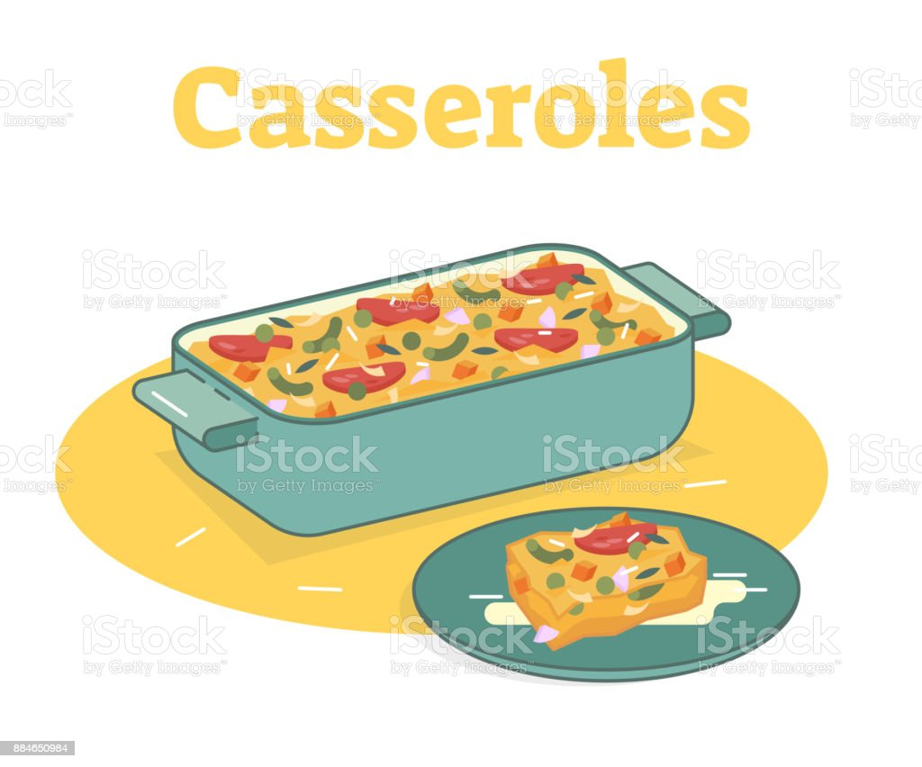 Casserole food illustration vector art illustration