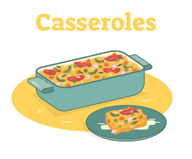 ilustrações de stock, clip art, desenhos animados e ícones de casserole food illustration - caçarola