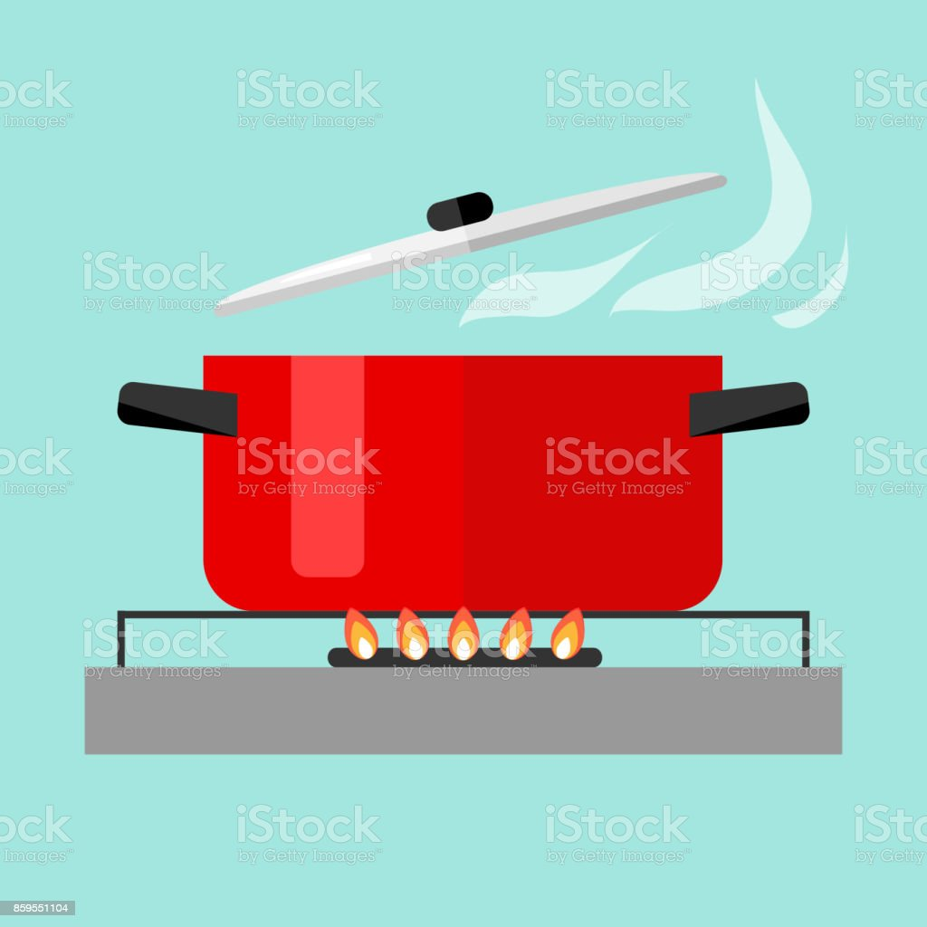 Casserole with soup on fire vector art illustration