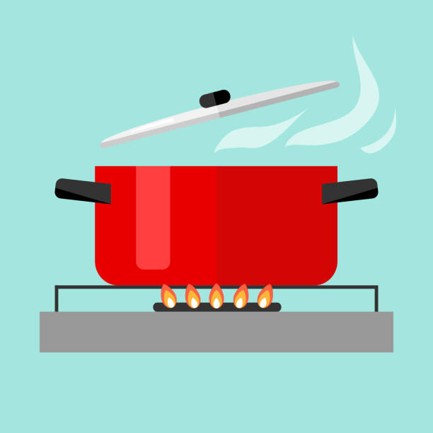 Casserole with soup on fire Casserole with soup on fire. Flat design, vector illustration, vector. stove stock illustrations