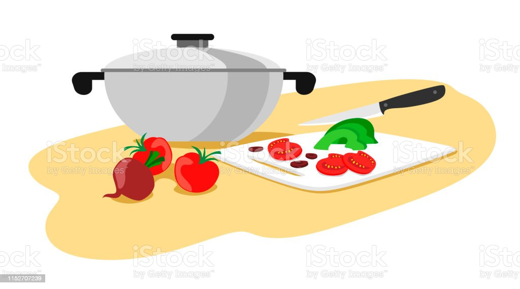 Casserole with vegetables for cooking. Knife cuts vegetables. Vector...