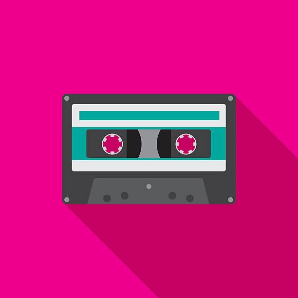 ilustrações, clipart, desenhos animados e ícones de cassette icon flat - fita cassete