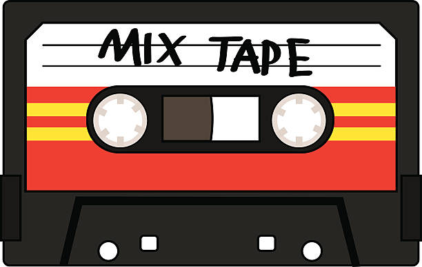 ilustrações, clipart, desenhos animados e ícones de fita cassete mix - fita cassete