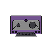 Cassette, music, tape icon. Element of color music studio equipment icon. Premium quality graphic design icon. Signs and symbols collection icon
