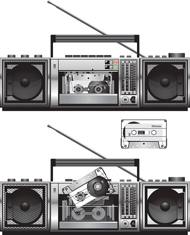 Cassette recorder in front view
