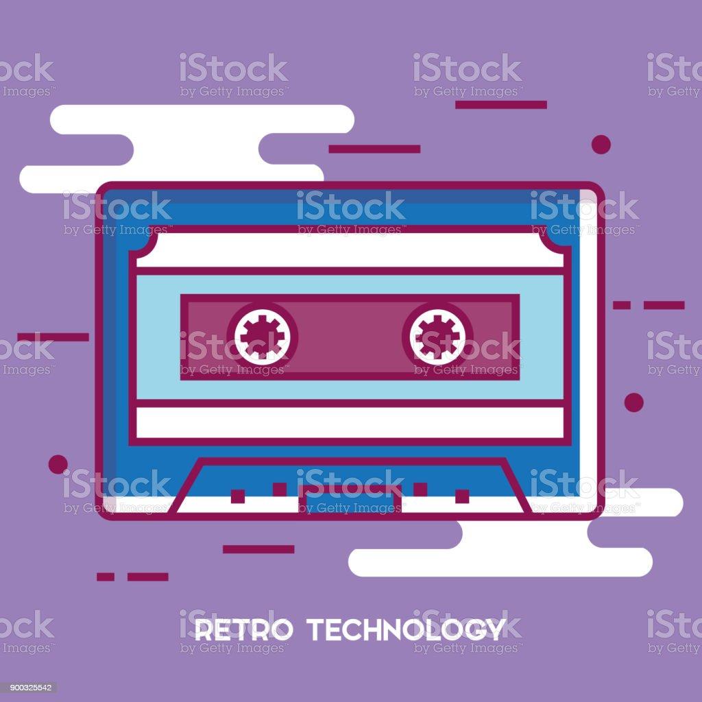 Retro-Technologie Kassettenikone – Vektorgrafik