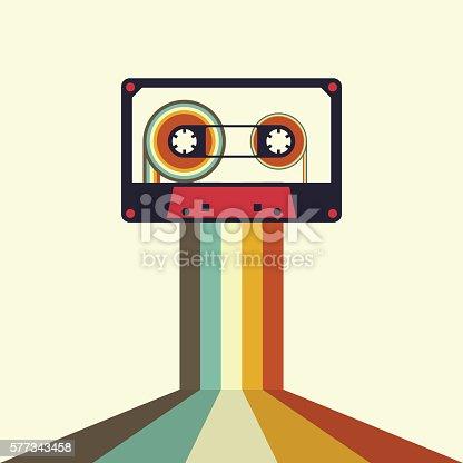 istock Cassette retro vintage style vector illustration 577343458