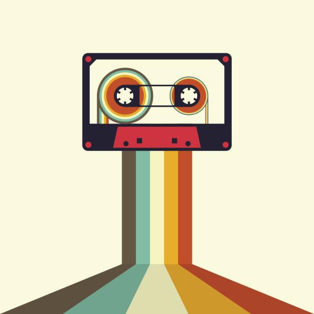 ilustrações, clipart, desenhos animados e ícones de cassette retro vintage style vector illustration - fita cassete