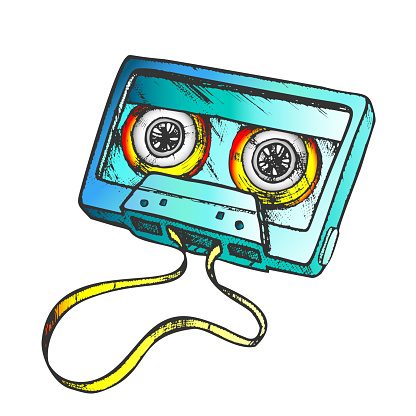 Cassette Tape For Listening Music Color Vector