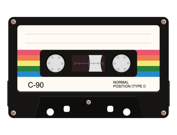 ilustraciones, imágenes clip art, dibujos animados e iconos de stock de cinta de cassette. ilustración de vector - tape