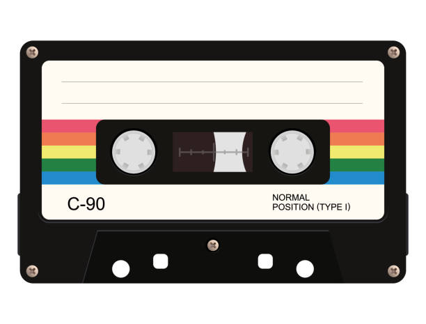 ilustrações de stock, clip art, desenhos animados e ícones de cassette tape. vector illustration - tape