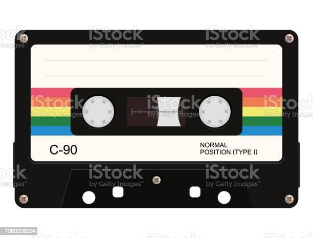 Cassette Tape Vector Illustration - Arte vetorial de stock e mais imagens de Antigo