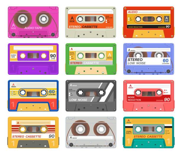 ilustrações, clipart, desenhos animados e ícones de fitas de gavetas. gaveta audio retro da fita diferente da música da cor. velha escola 90 record tecnologia dispositivo de mídia vintage. jogo do vetor - fita cassete