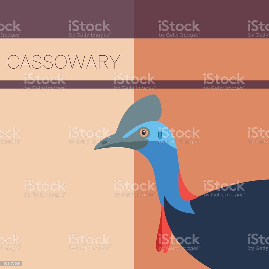 Cassowary Flat Postcard vector art illustration