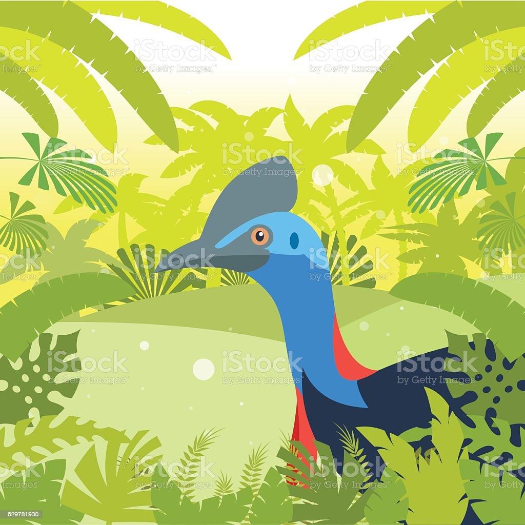 Cassowary on the Jungle Background vector art illustration