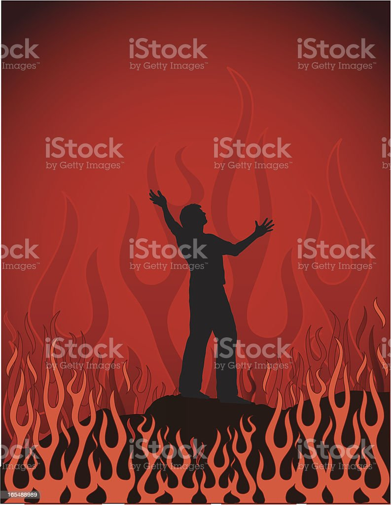 Cast Into the Flames vector art illustration