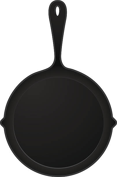 cast iron pan simple cast iron pan graphic frying pan stock illustrations