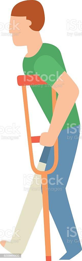 Cast on an broken arm of man hard pain medical vector art illustration