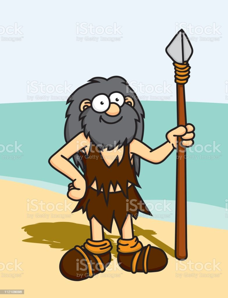 Castaway with Spear royalty-free stock vector art