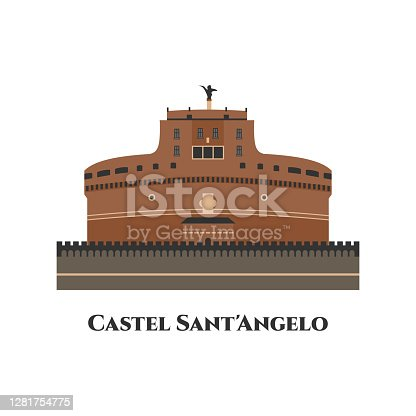 istock Castel Sant Angelo in Rome, Italy. The famous tourist attraction of Italy. It is a towering cylindrical building. The other name is Mausoleum of Hadrian. The best place for tourist vacation 1281754775
