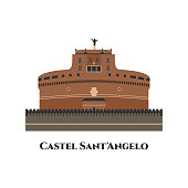 Castel Sant Angelo in Rome, Italy. The famous tourist attraction of Italy. It is a towering cylindrical building. The other name is Mausoleum of Hadrian. The best place for tourist vacation