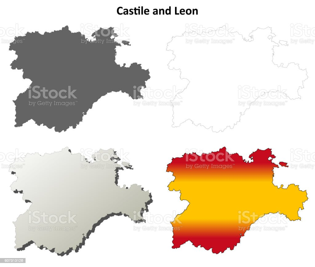 Mapa Castilla Y Leon En Blanco.Ilustracion De Sistema De Mapa De Contorno En Blanco