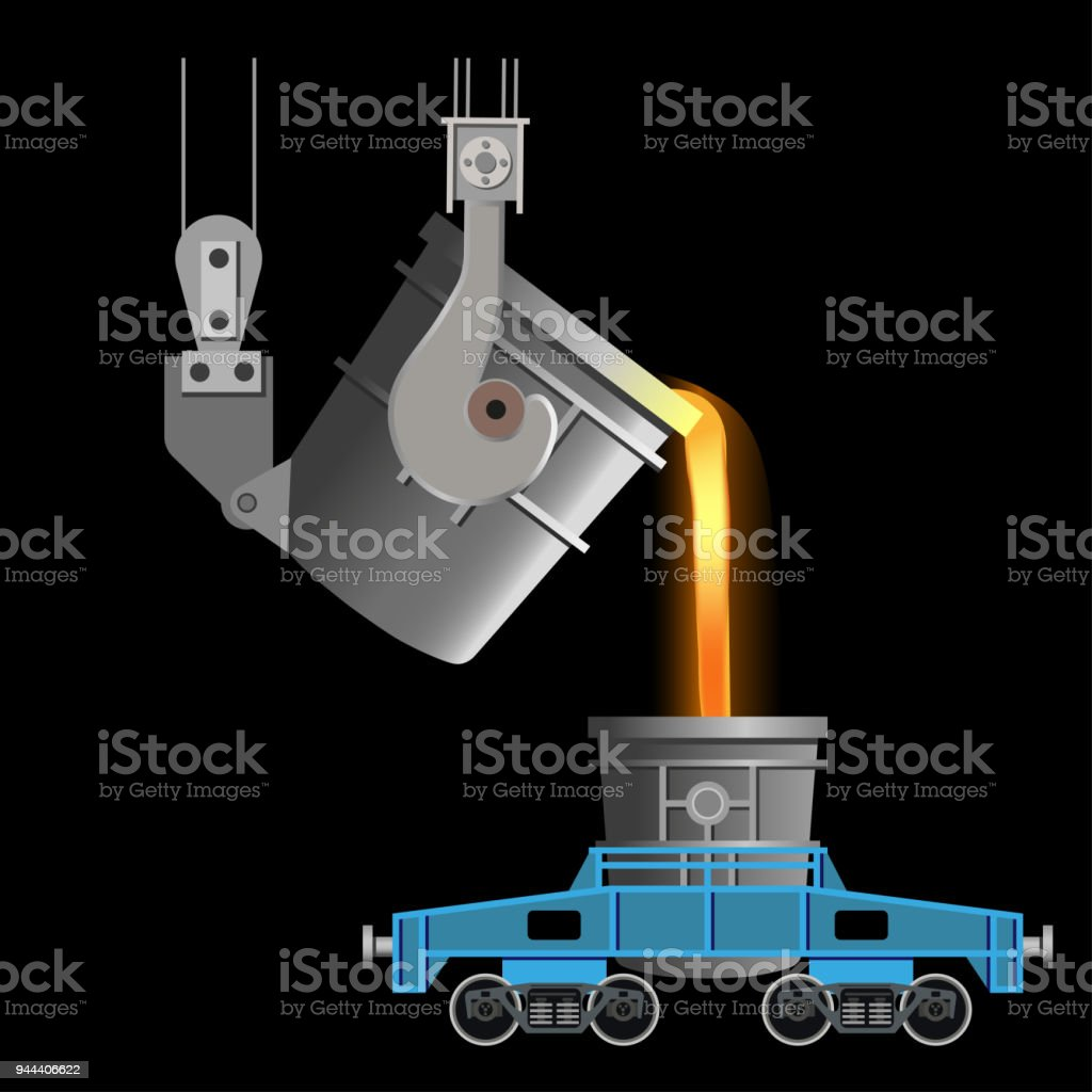 Casting of steel from ladle vector art illustration