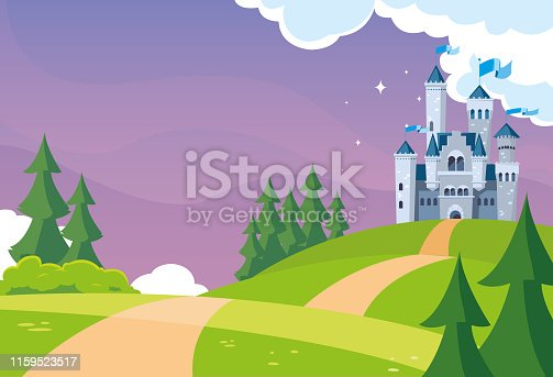 castle building fairytale in mountainous landscape vector illustration design