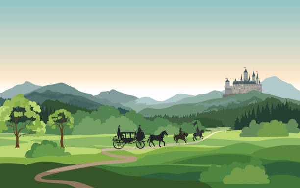 Castle, carriage, knight over Mountains Landscape. Medieval rural nature background. Hills skyline Castle, carriage, knight over Mountains Landscape. Medieval rural nature background. Hills skyline castle stock illustrations