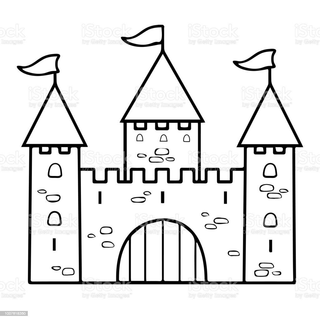 Castle Cartoon Linear Drawing Coloring Outline Contour Simple Sketch