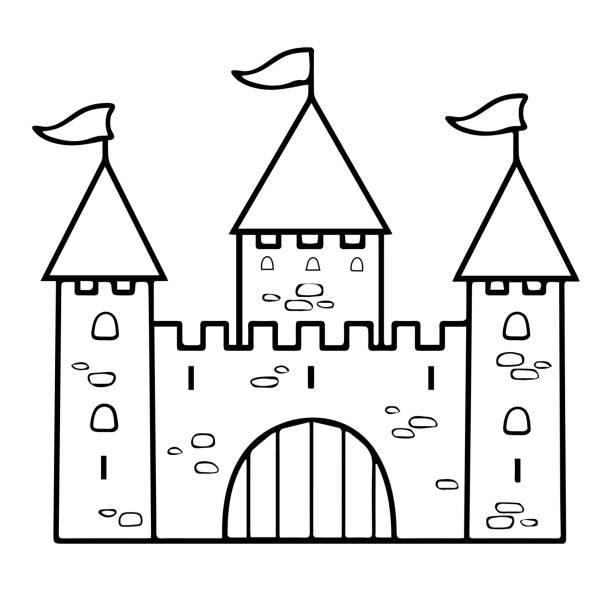 Castle Cartoon Linear Drawing Coloring Outline Contour Simple Sketch Vector Art Illustration