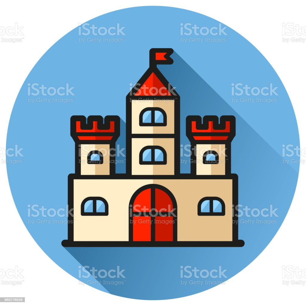 castle circle blue flat icon royalty-free castle circle blue flat icon stock vector art & more images of architecture