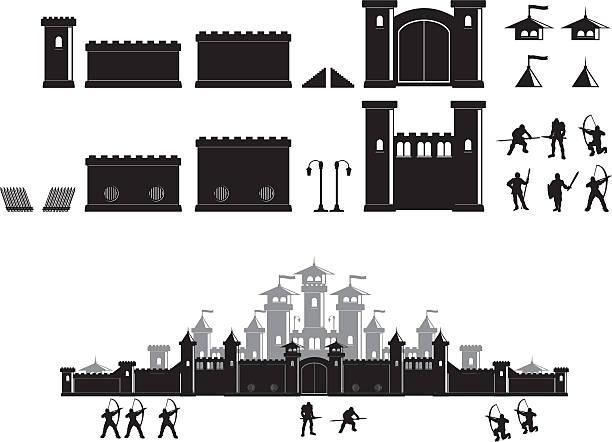 stockillustraties, clipart, cartoons en iconen met castle construction set - versterkte muur