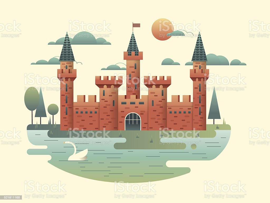 Castle design flat Castle design flat. Building medieval with tower, fortress architecture, palace of kingdom, vector illustration Abstract stock vector