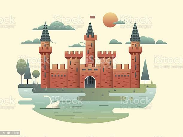 Castle Design Flat Stock Illustration - Download Image Now