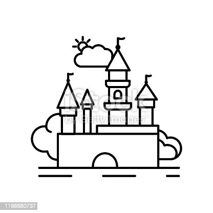 Castle fortress medieval line icon. Element of landscapes icon on white background