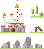 Castle Game Screen Concept Adventurer RPG Flat Design Magic Fairy Tail Icon Isolated Template Vector Illustration