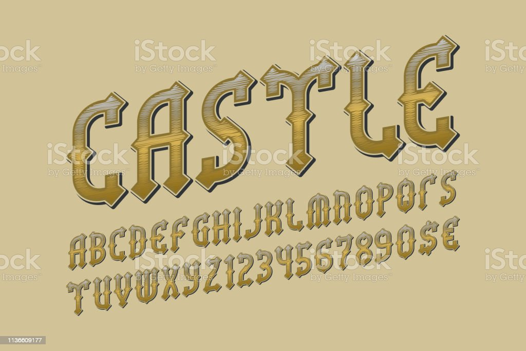 Castle Golden Alphabet With Numbers And Currency Signs