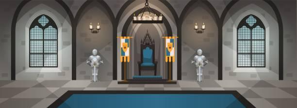 ilustrações de stock, clip art, desenhos animados e ícones de castle hall. medieval palace with royal decor and furniture. interior with dining table, throne. cartoon vector illustration - muita comida