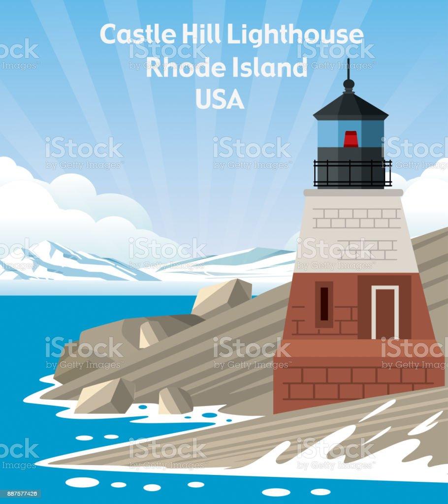Castle Hill Lighthouse vector art illustration