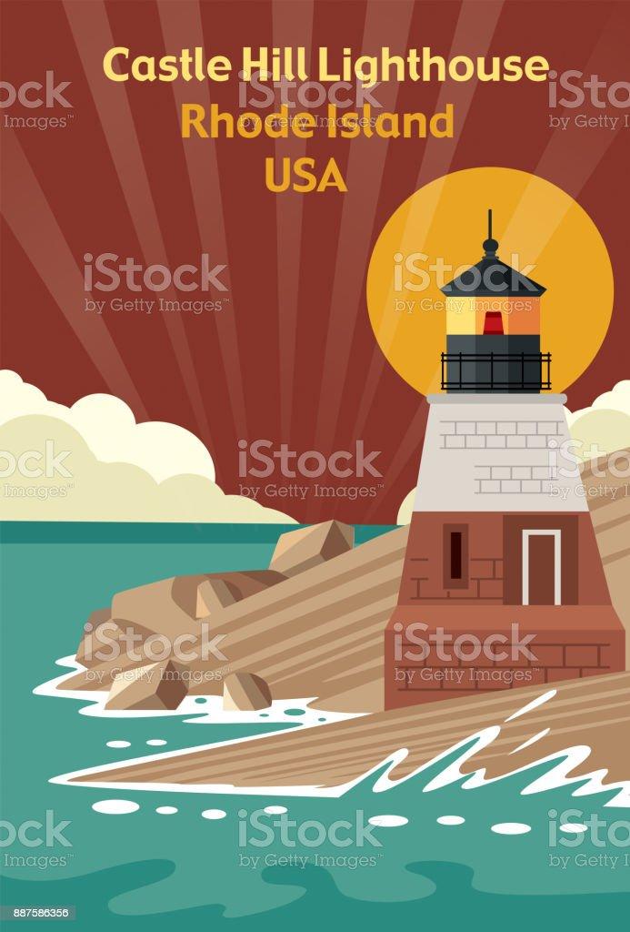 Castle Hill Lighthouse (Rhode Island) vector art illustration