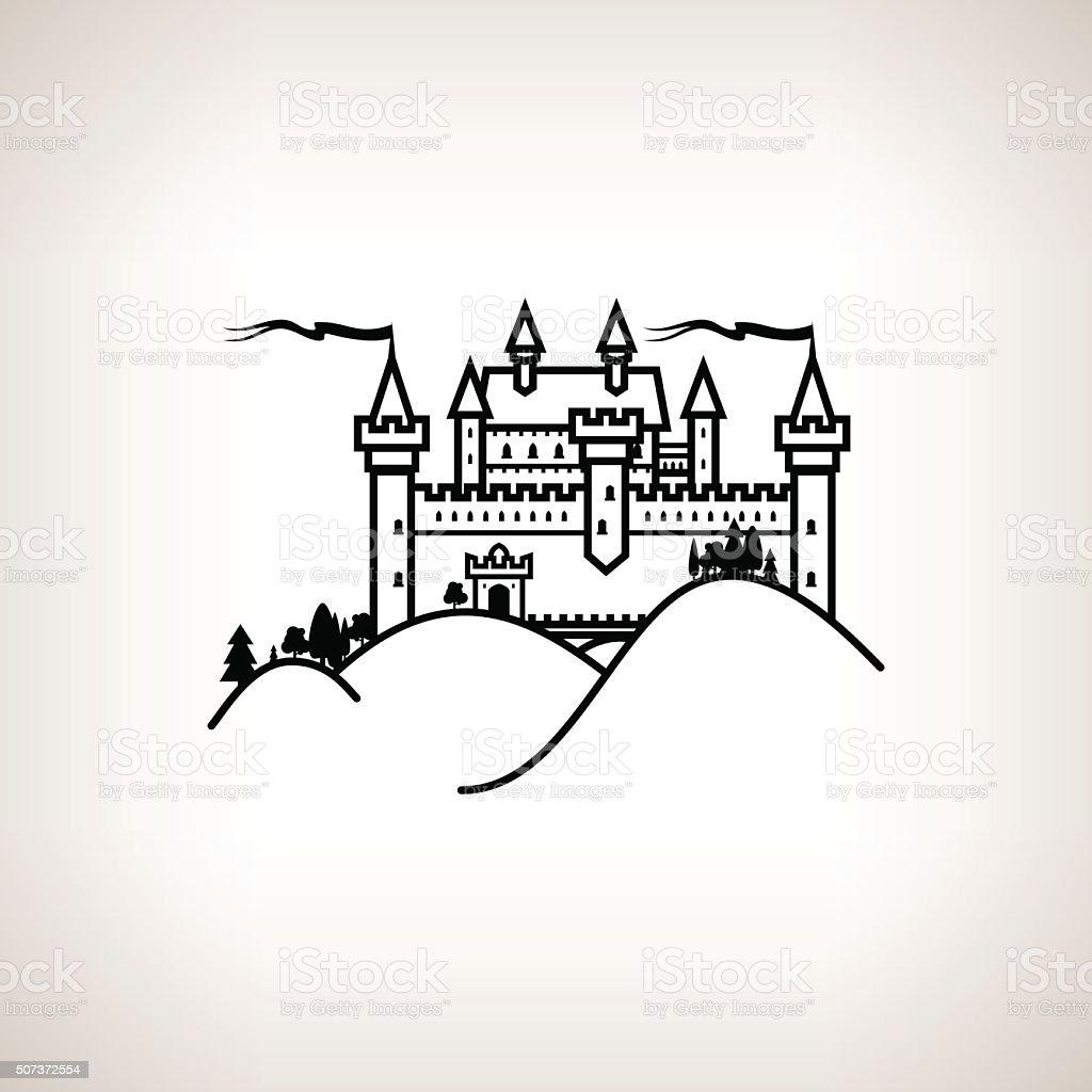 Castle Hill on a Light Background vector art illustration