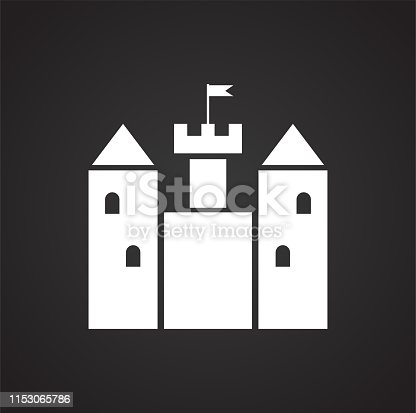 Castle icon on background for graphic and web design. Simple illustration. Internet concept symbol for website button or mobile app
