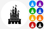 Castle Icon on Flat Color Circle Buttons
