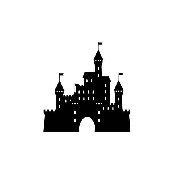 Castle icon silhouette  simple design Castle icon silhouette  simple design castle stock illustrations