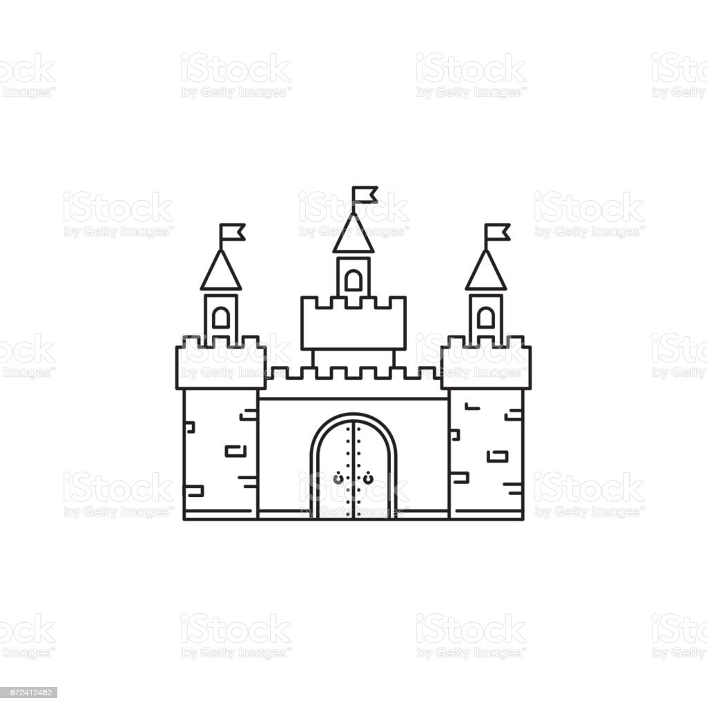 Castle icon vector linear design isolated on white background park castle icon vector linear design isolated on white background park logo template element for maxwellsz