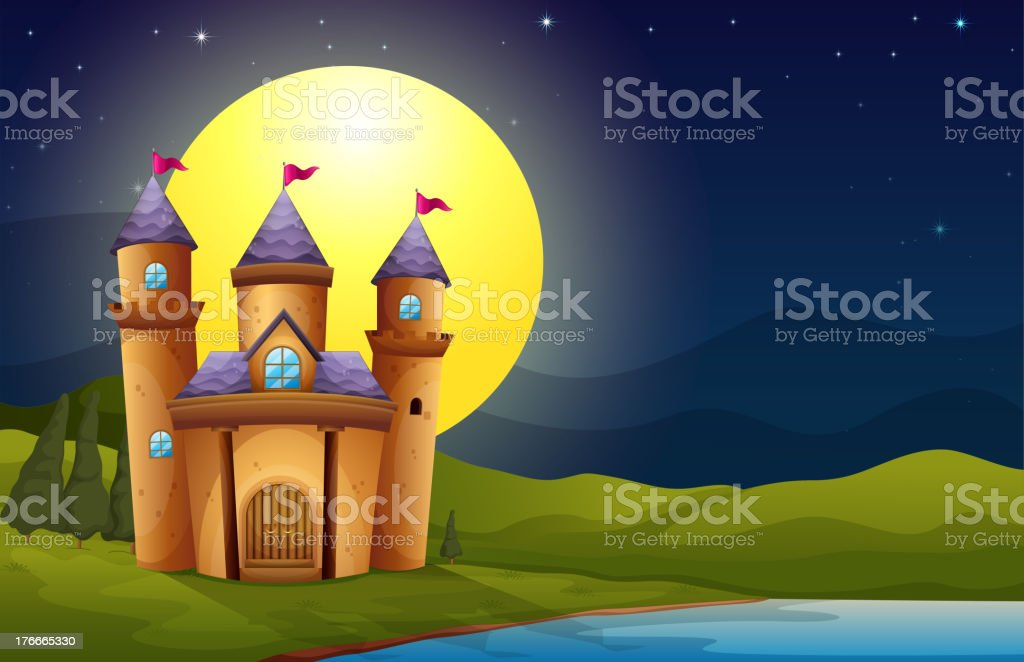 castle in a full moon scenery royalty-free castle in a full moon scenery stock vector art & more images of blue